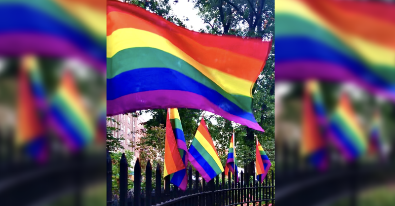 Pride flags in Christopher Park shared for Pride Month
