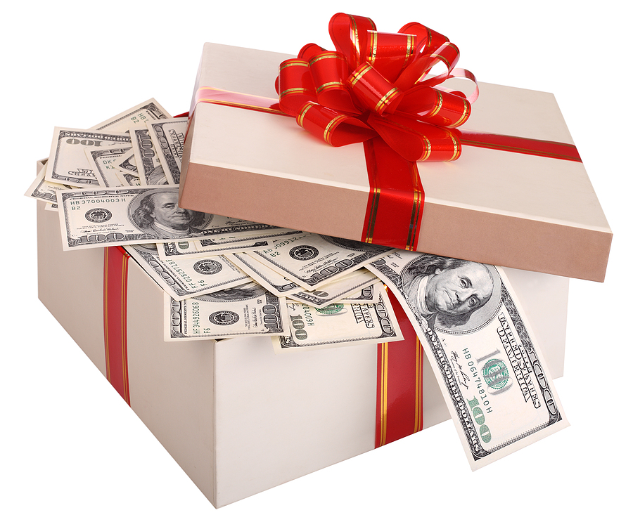 Gift box with cash inside