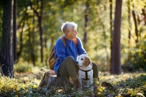 A senior woman with dog on a walk outdoors in forest, resting. Emotional Support Animal