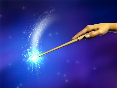 A will is not a magic wand. Female hand using a magical wand.