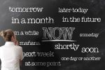 get things done or start doing things now anti procrastination concept on blackboard